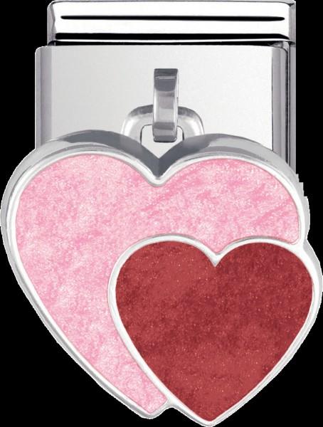 NOMINATION-Charm Doppelherz , Modellnr.: 031700-07 aus Edelstahl mit einem Abhänger, der  zweifarbig emailliert ist und aus echtem Silber Sterlingsilber 925/- gefertigt wurde.. Seine Maße sind ca. 19mmx12mm( mit Anhänger). Er ist genau passend auf alle