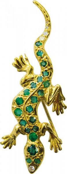 Brosche Gold 750/- 5 Brill. ca. 0,15ct T...