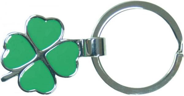 Schlüsselanhänger mit einem grünen Kleeblatt, Maße 30x30mm. Als Glücksbringer eine schöne Geschenkidee zum absoluten Schnäppchenpreis von Deutschlands günstigstem Schmuckhändler – ABRAMOWICZ AUS STUTTGART.