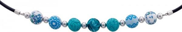 Schwarzes Leder Armband/Collier in 18,5 cm und 40 cm mit 5 cm Verlängerungskette. Mit bunten Fimo-Beads, Verschluß und Zwischenteile aus feinem Edelstahl Toyo Yamamoto. Durchmesser Kugeln ca. 8,5mm-13mm. Der Bestpreis aus Stuttgart! Die Nr. 1 für Gold, Si
