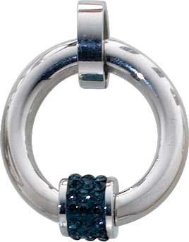 Edelstahlanhänger mit blauen Kristallstrasssteinen (Zirkonia) mit einem Durchmesser von ca. 2,3 cm und in der Stärke von ca. 0,38 cm . Hautfreundlich und Allergiefrei vonToyo Yamamoto, Japans Kultdesigner. Exclusiv von Abramowicz , Deutschlands bestem Sc