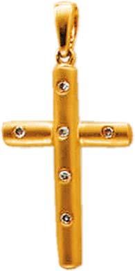 Anhänger in echt Gelbgold 585/- mit 6 funkelnden Diamanten 0,05ct TCR/P1, mattiert und mit beweglicher Anhängerschlaufe. Ein sehr feines Diamantkreuz, Länge ca. 30 mm, Breite ca.15 mm in Premiumqualität aus dem Hause ABRAMOWICZ in Stuttgart. Besuchen Sie