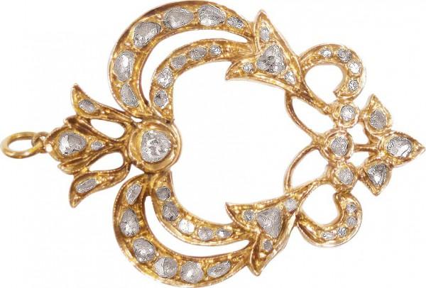 Antiker Anhänger Rosegold 750/-, aus dem Jahre 1900- 1920, ca. 40 Rosenschliff Diamanten ca.3,00ct ein Top Artikel vom Abramowicz aus Stuttgart