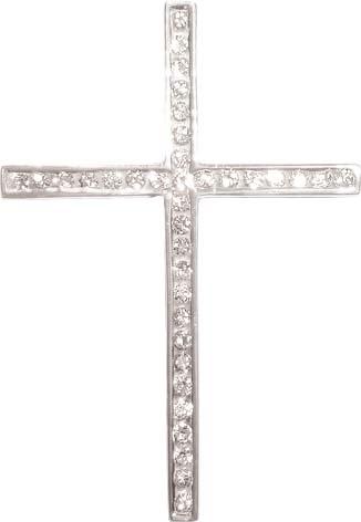 Kreuzanhänger aus Sterling silber 925/-, mit 35 synth etischen Zirkonia besetzt
