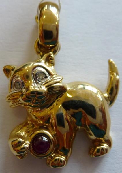 Anhänger Gold 585/- 2 Dia. W/P, Rubin E...