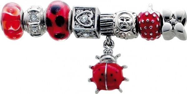 Beadset 8-teilig aus unserer Crystal Blue-Collection, teils mit Elementen aus Glas, Kristallstrassteinen und auch mit funkelnden Zirkonia besetzt. Verschiedene Beads, passend für alle Sammelsysteme aus Metall im angesagten Pandorra Stil zu