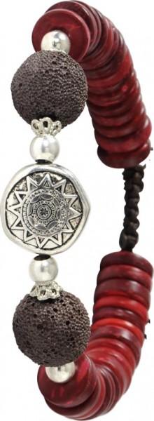 Megatrendiges Armband, verstellbar 18-21 cm lang aus dunkelbraunen Textilband, mit echten Lavasteinen in dunkelbraun. Roten Beads aus echtem Kokos und funkelnden Zwischenteilen aus Metall. Stylisch angesagtes Schmuckstück, für alle die, die N