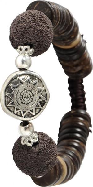 Megatrendiges Armband, verstellbar 18-21 cm lang aus dunkelbraunen Textilband, mit echten Lavasteinen in dunkelbraun. Beads aus echtem Kokos und funkelnden Zwischenteilen aus Metall. Stylisch angesagtes Schmuckstück, für alle die, die Natur i