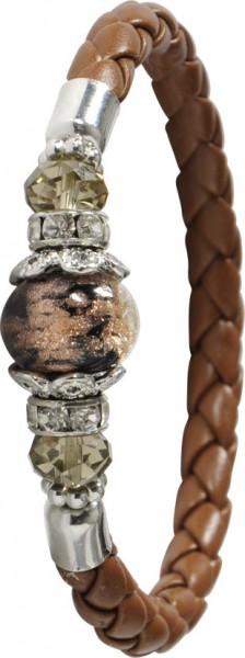 Glamouröses Armband 19-21 cm lang, dehnbar aus echtem braunen Lederband (Breite 5mm), besetzt mit cognacfarbenen Glasbeads (10 mm) und funkelnden Zirkonia. Ein eleganter Hingucker, dass Ihr Handgelenk schmückt . Ein Accessoire für alle, die das Besondere