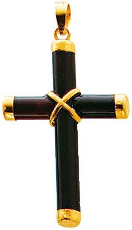 Kreuzanhänger in Gelbgold 585/-, mit  schwarzem Onyx