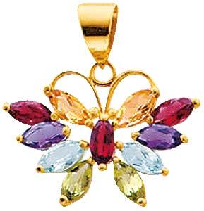 Gelbgold 585/-, Anhänger hübscher, farbenprächtiger Schmetterling mit Amethyst, Citrin, Blautopas, Granat und Peridot