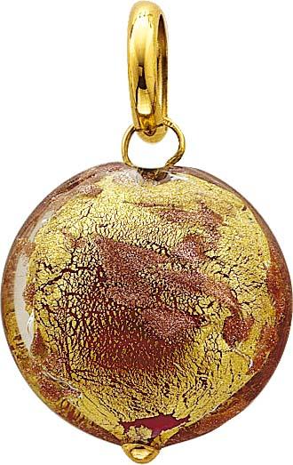 Goldanhänger, Anhänger aus Gold 18 Karat und Muranoglas, Goldeinlage 24 Karat, geeignet für Ketten bis 10 mm Stärke