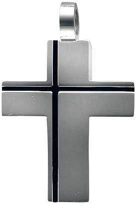 Anhänger Kreuz aus Edelstahl, Länge ca. 3 cm und Breite ca. 2,4 cm. Geeignet für Ketten bis 3 mm Stärke. Die Oberfläche ist poliert. Zum Schnäppchenpreis von Abramowicz/Stuttgart. Topdesign zum Toppreis