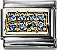 Nomination  LIGHT BLUE ZIRKONIA Element mit Gold 750/-