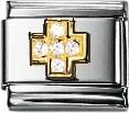 Nomination 030307-01 Classic Element Kreuz weisse Zirkonia aus Edelstahl mit Gold 750/- und Zirkonia