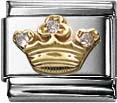 Nomination 030308-12 Classic Element Krone weisse Zirkonia aus Edelstahl mit Gold 750/- und Zirkonia