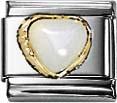 Nomination weiße Perle Herz Element mit Gold 750/-