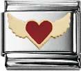 Lustiges Nomination-Element   fliegendes Herz  mit Motiv  aus roter Emaille und 18 Karat Gold . Dieser Anhänger besteht ansonsten aus Edelstahl und paßt genau auf alle trendigen Nomination-Armbänder. Seine Maße sind ca. 10mmx10mm. Nur bei Abramowicz, Ih