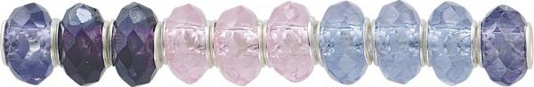 Kristall Beads Set 10-teilig, Fassung aus Metall